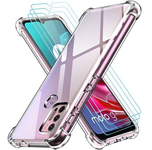 ivoler Klar Hülle für Motorola Moto G30 / G20 / G10 mit 3 Stück Panzerglas Schutzfolie, Dünne Weiche TPU Silikon Transparent Stoßfest Schutzhülle Durchsichtige Kratzfest Handyhülle Hülle