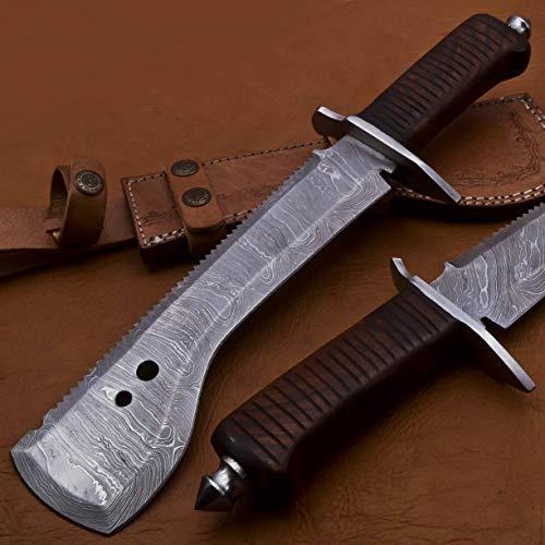 Damascus Steel CP-5002 Handmade 13.00 Inches Damascus Steel Chopper Knife - Beautiful Rose Wood Handle