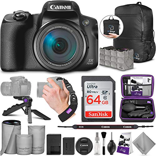 Best Price Canon PowerShot SX70 HS Digital Camera with Altura Photo Advanced Accessory and Travel Bu...