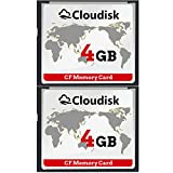 Cloudisk 2X CF Card Compact Flash Memory Card Performance For Vintage Digital Camera (2X4GB)