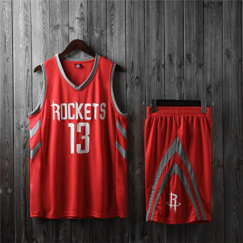 LYY Camisetas De Baloncesto para Hombre, NBA Houston Rockets # 13 James Harden - Conjunto De Uniformes De Camisetas Sin Mangas Transpirables Clásicas para Niños Y Adultos,Rojo,XS(Child) 105~115CM