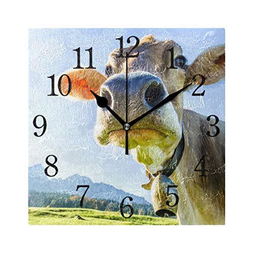 BKEOY Wanduhren mit Vintage-Maleroberfläche, lustige Kuh-Uhr, quadratisch, geräuschlos, Nicht tickend, Heimdekoration