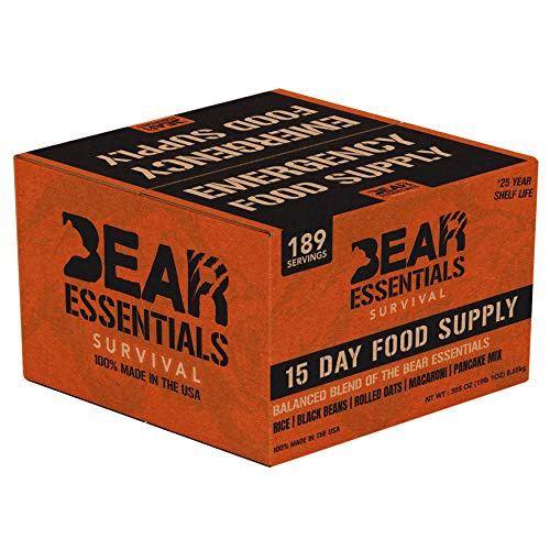 Bear Essentials Survival | 15 Day Emergency Food Supply |189 Large Servings | 30,260 Calories | 25 Year Shelf Life | Non Perishable MRE Alternative