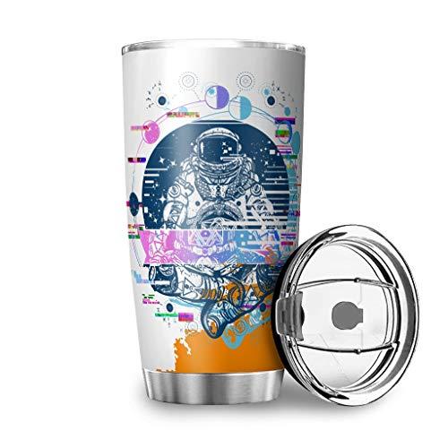 Taza con tapa y texto en alemán 'Ich wille, DASS du Meinem Sohn glaubst', acero inoxidable, taza de viaje, reutilizable, aislante, color blanco, 600 ml