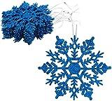 Paquete de Decoraciones Colgantes de Copos de Nieve con Brillo de 12-10 cm - Decoraciones navideñas ... (Azul Real)