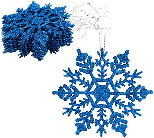 Christmas Concepts Confezione da 12 - Decorazioni da Appendere con Fiocco di Neve Glitterate da 10 cm - Decorazioni Natalizie (Blu Reale)