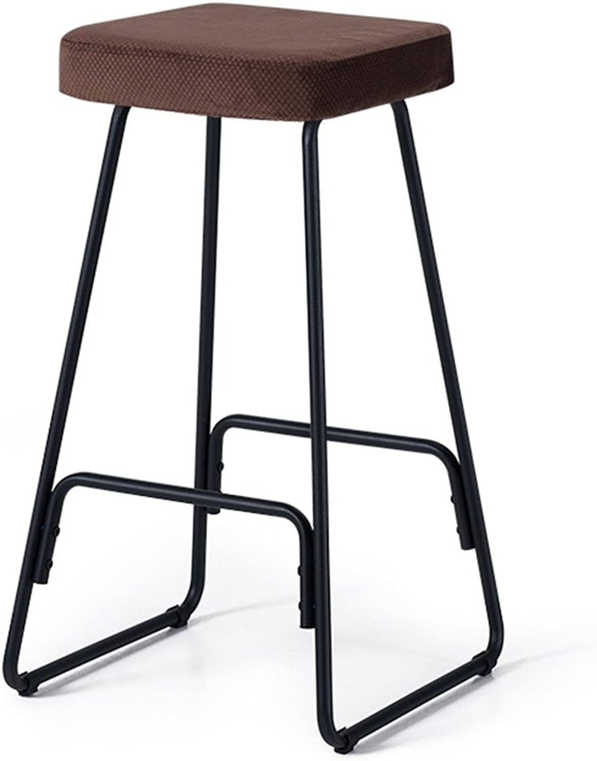 Bar Stool Bar Chair Metal Frame Footrest Stool for Breakfast Kitchen   Pub   Café Barstools Height 67cm with Iron Legs Black (color   Brown)