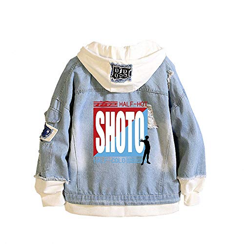 My Hero Academia Denim-Jacke Erwachsener Button Down Jeans-Mantel-Jacke Graphic Hoodie Cosplay Unisex Anime,3,M