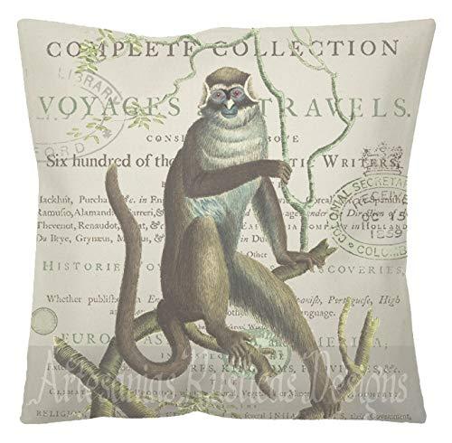 Ol322ay Britse koloniale kussen katoen canvas jute aap antieke druk op Engels tekst met stempels gooien kussensloop Euro Sham