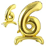 Self Standing 32 Inch Number Balloons Foil Ballon Gold Digit Ball Wedding Birthday Party Decoration Baby Shower Supplies (32 inch Stand Gold 6)