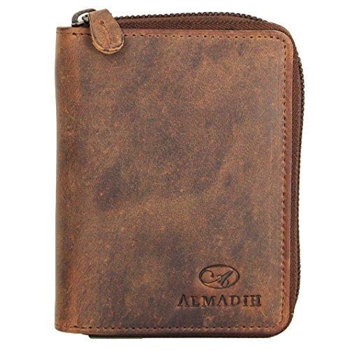 ALMADIH Premium Leder Portemonnaie mit RFID-Schutz hochformat mit Reißverschluss 17 Kartenfächer in Geschenkbox P2HRV BV - Herren Börse Geldbörse Geldbeutel Brieftasche dunkelbraun P2HRV Braun Vintage