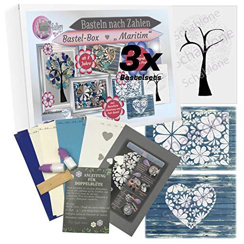 Kamary-Gallery 3 x Bastelset Bastelbox Maritim Papierbastelset für Kinder und Erwachsene ab 8 Jahre, Basteln nach Zahlen in 3D-Design, Geschenkidee und DIY-Set