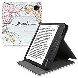 kwmobile Hülle kompatibel mit Tolino Vision 5 - Schlaufe Ständer - e-Reader Schutzhülle - Travel Schriftzug Schwarz Mehrfarbig