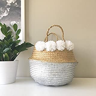 Medium: Seagrass Rice Belly Baskets Woven Weave Tote Basket for Storage, Laundry, Picnic, Plant Pot Cover, and Beach Bag (Silver Dipper with 8 Pompom, Medium