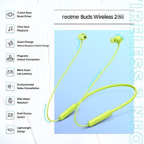 realme Buds Wireless 2 Neo (Green) Earphones with Type-C Fast Charge, Bass Boost+ & Magnetic Instant Connection