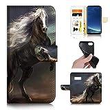 for Samsung S10e, Galaxy S10E, Designed Flip Wallet Phone Case Cover, A31070 Black Horse