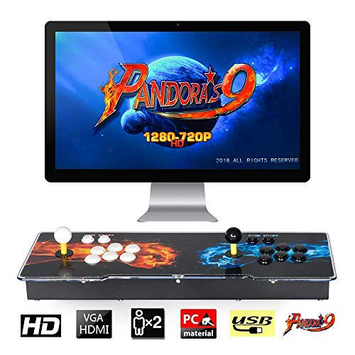 TAPDRA Pandora's Box 9 Joystick y Botones multijugador Arcade Console, Arcade Games Machines, 1500 Retro Video Games All in One, el Sistema más Nuevo con CPU Avanzada Compatible con HDMI y VGA
