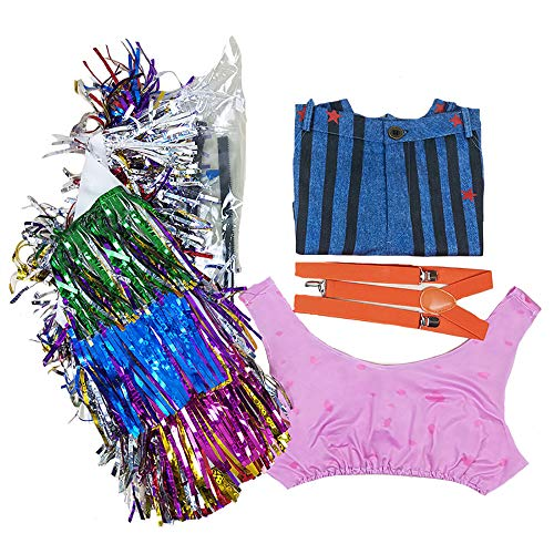 Nanony Disfraz de Aves de Presa Harley Quinn Cosplay Chaqueta de Traje/Mono/Abrigo de Traje Conjunto Completo Halloween para Mujeres