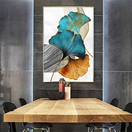N / A Blue Green Yellow Gold Plant Leaf Abstract Poster Nordic Canvas Print Wall Art Painting Modern Picture Living Room Decoration 60x90CM N frame