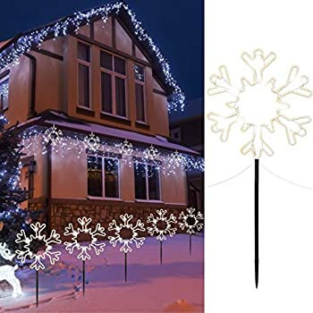 """8.5"""" Christmas Pathway Stake Lights Outdoor 5 Pack 8 Feet 60 LED Fairy Lights Battery Operated Waterproof Snowflake Landscape Lights for Xmas Indoor Party Decorations Pure White"""