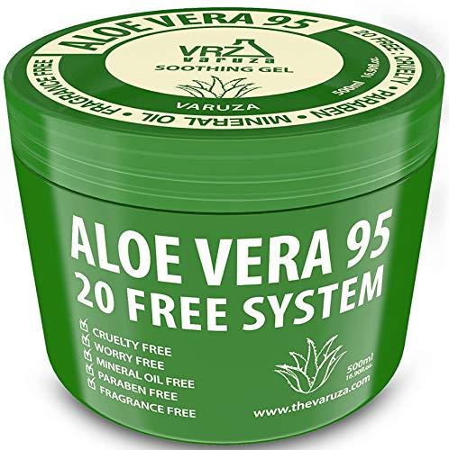[Varuza] 16.9 fl. oz. Aloe Vera Gel 95 - Urgent Skin Solution For Acne, Sunburn, Rashes, Eczema, Itchy, Razor Bumps - Hypoallergenic Skin Care