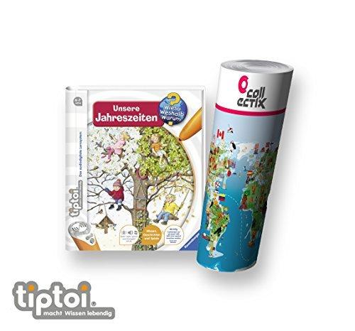 tiptoi Ravensburger Buch | Unsere Jahreszeiten + Kinder Weltkarte - Länder, Tiere, Kontinente