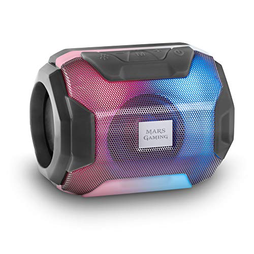Mars Gaming MSBAX, Altavoz Bluetooth RGB, Compacto,10W, USB/MicroSD/Radio, Negro