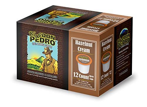 Cafe Don Pedro - 72 ct. Hazelnut Cream Low Acid Coffee 72 Ct. - Compatible with Keurig 2.0 K-cup Brewers , 100% Arabica , Single Serve , Battles Heartburn Acidic Reflux, Healthy Gourmet Capsule Pod
