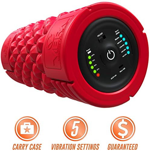 Epitomie Fitness VIBRA Vibrating Foam Roller - Next Generation Electric Foam Roller with 5 Speeds Settings | Includes Carry Case & Vibration Foam Rolling Training (RED)