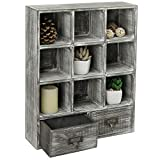 MyGift Wall-Mounted Graywashed Wood 9-Cube Shadow Box Shelf with 2 Pullout Drawers