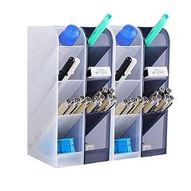 4 Pcs Desk Organizer- Pen Organizer Storage for Office, School, Home Supplies, Translucent Black & White Pen Storage Holder, Set of 4, 16 Compartments (4 Pcs)