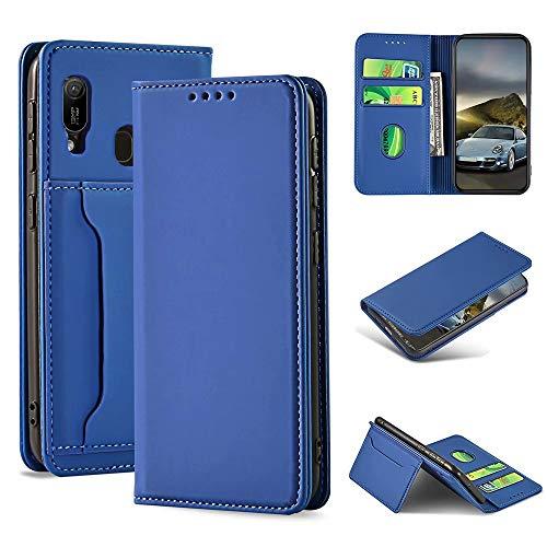 iLovecover Handyhülle für Huawei Honor 8A/Y6 2019 (6.09 Zoll) Hülle,Premium Leder Flip Schutzhülle Leder Wallet Tasche Klapphülle glatt Silikon Bumper Handytasche,Blau