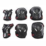 Set 6 in 1 per adulti e ragazzi ginocchiere gomitiere polsiere e ginocchiere set di protezioni per pattinaggio a rotelle per skateboard equitazione ciclismo scooter (nero e rosso-L)