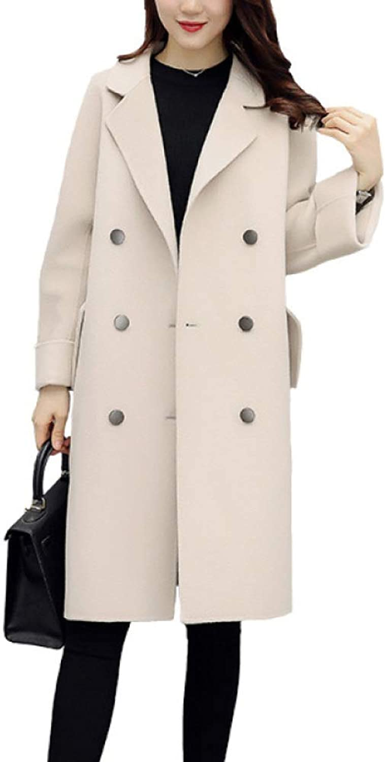 DFUCF Women's Woolen Coat DoubleBreasted Lapel Winter Cardigan Overcoat Fashion