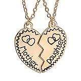 luoem 2pezzi collana gioielli per madre e figlia rotto cuore inciso Madre Regalo Di Giorno (Golden)