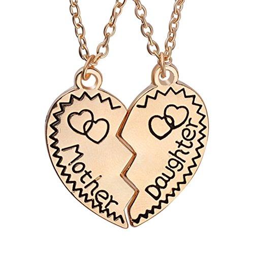 LUOEM Juego de collares para madre e hija a juego con rompecabezas, colgante de corazón roto y collares Set de regalo de joyería para mamá (dorado)