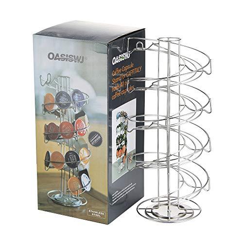 Viitech Soporte para cápsulas de café Nespresso, para 50 cápsulas Dolce Gusto Pods, soporte giratorio de acero inoxidable