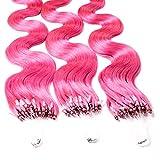 Hair2Heart 25 x 0.5g Extensiones de micro ring pelo natural - 40cm, colore #fucsia, corrugado