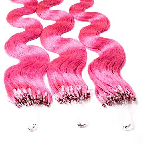 hair2heart 50 x 0.5g Echthaar Microring Loop Extensions, 50cm - gewellt - #pink