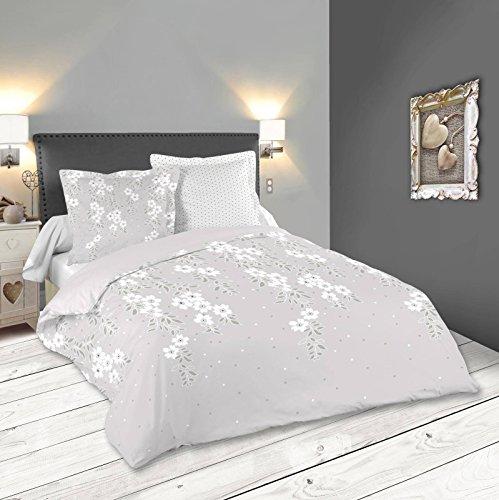 Lovely Casa Gaya Housse DE Couette 260X240 CM + 2 TAIES 63X63 CM, Coton, Gris