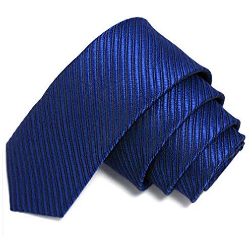 GASSANI Blaue schmale dünne 5cm Krawatte gestreift | Skinny Herrenkrawatte Navy-Blau zum Sakko Anzug | Schlips Binder einfarbig mit Streifen