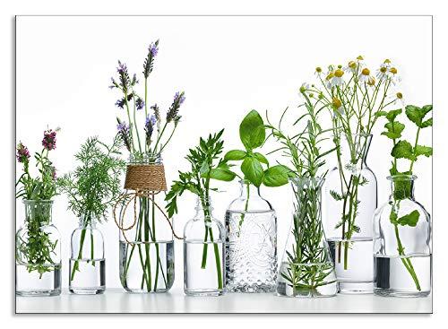 Artland Spritzschutz Küche aus Alu für Herd Spüle 70x50 cm Küchenrückwand mit Motiv Pflanzen Kräuter Gewürze Lavendel Basilikum Blumen H9KE