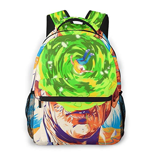 NiYoung School Outdoors Bicycle Backpack Daypack Durable Polyester Multipurpose Anti-Theft Daypack Casual College School Daypack Large Capacity Bookbag, Psychedelic Cartoon Rick-and-Morty Art