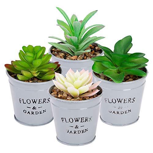 ANSUG 4 Stücke Künstliche Sukkulenten Pflanzen mit Töpfen, Mini Kunstpflanze Bonsai mit Keramiktopf für Wohnzimmer Schlafzimmer Küche Büro Tischdekoration