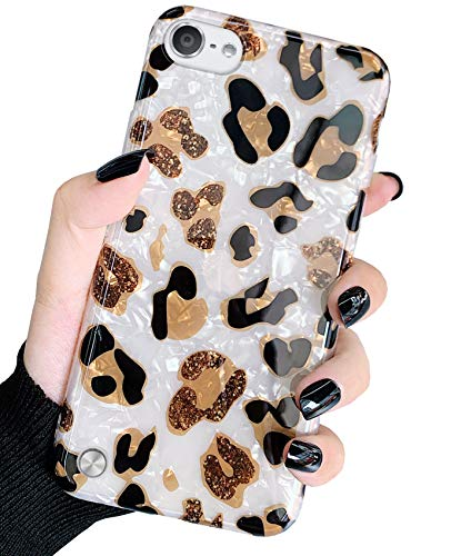Jwest iPod Touch 7 Case, iPod Touch Case 6th Generation, iPod 5 Case Sparkly White Leopard Pattern Print Design Soft Silicone Cover Slim TPU Sturdy Protective Back Phone Case for iTouch 5/6/7 Cheetah