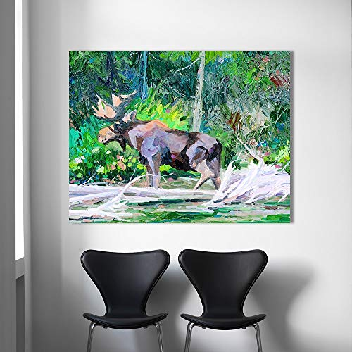KWzEQ Canvas Painting elk poster andwall decor for living room80x105cmFrameless painting