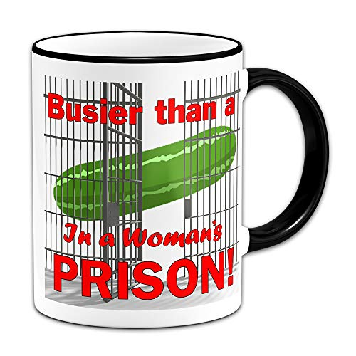 Busier than a Cucumber Mug with Prison Cell Design