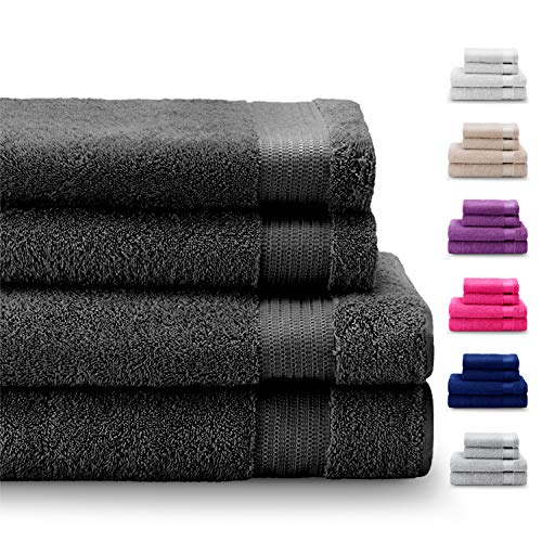 Twinzen - 100% Cotton Towel Set 500GMS (4 Pieces, Dark Grey) Certified Chemical-Free by OEKO TEX - 2 Hand...