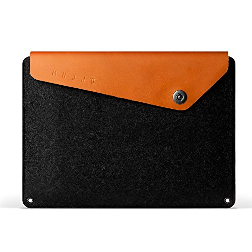 Mujjo Sleeve for 12-inch MacBook | Premium Wool Felt, Genuine Leather Flap with Snap Button Closure | Storage Compartments, Card Pocket (Tan)