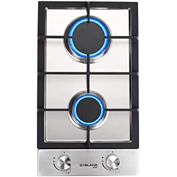 """12"""" Built-in Gas Cooktop, GASLAND Chef GH30SF 2 Burner Gas Hob, 12 Inch NG/LPG Convertible Natural Gas Propane Cooktops, Dual Burner Gas Stovetop with Thermocouple Protection, Stainless Steel"""